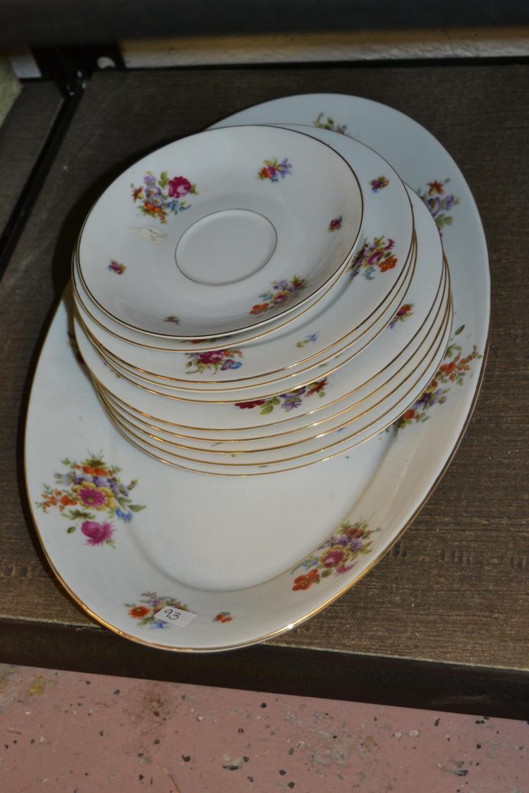 Vintage Schwarzburg Fine Porcelain Floral Print Dishes