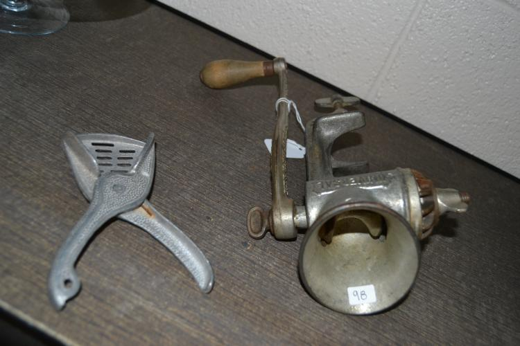 Vintage Meat Grinder And Garlic Press