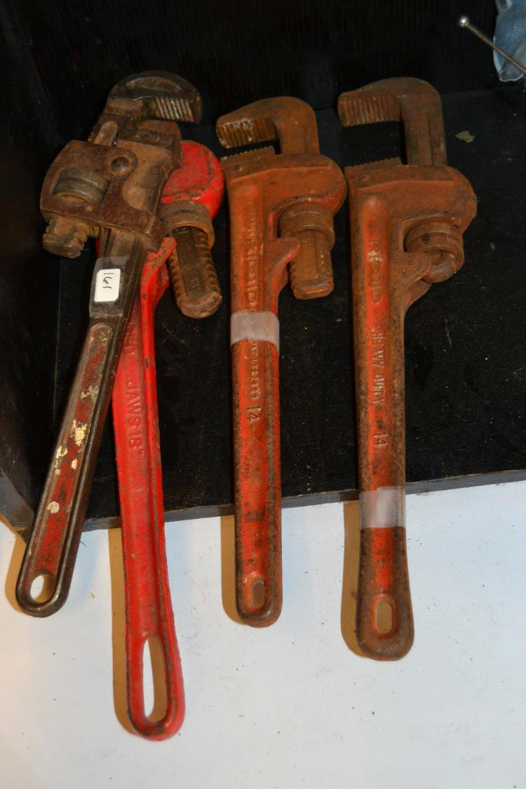 4 Heavy Duty Pipe Wrenches