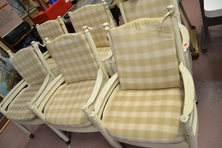 6 Shabby Chic Padded Rolling Wood Arm Chairs