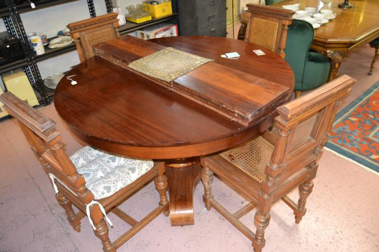 Vintage Carved Wood Expandable Dining Table Four Chairs