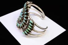Lot 1: Vintage Zuni Sterling Turquoise Petit Point