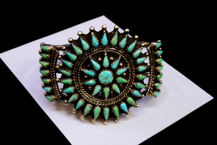 Vintage Zuni Sterling Turquoise Petit Point