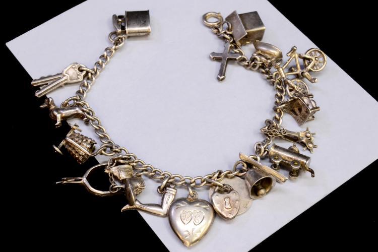 Lot 2: Vintage 32 Gram Charm Bracelet With Many Nice
