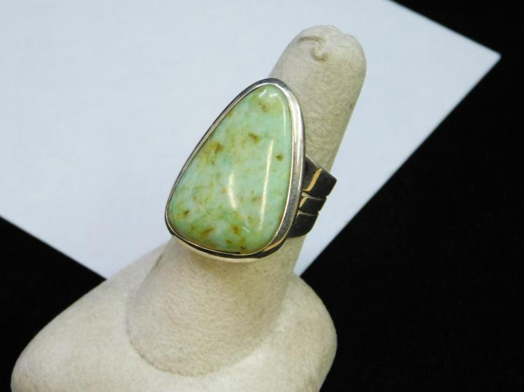 Lot 4: Vintage Navajo Green Turquoise Sterling Silver