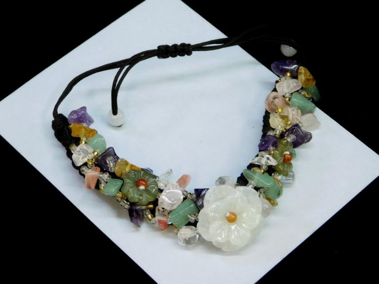 Lot 8: Braided Rope Multi Stone Jade Jadeite Amethyst
