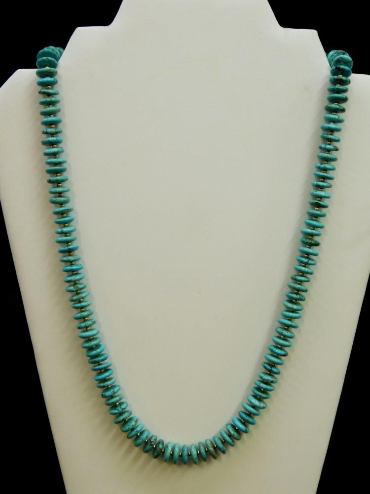 Vintage Navajo Turquoise Disk Beaded Necklace In