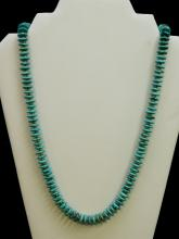 Lot 9: Vintage Navajo Turquoise Disk Beaded Necklace In