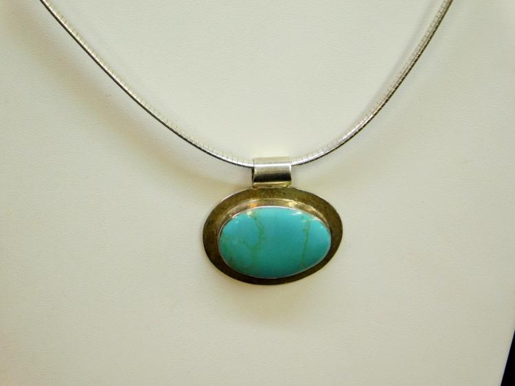 Lot 17: 30 Gram Sterling Turquoise Mexico Pendant On