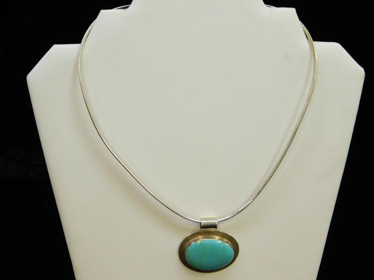 30 Gram Sterling Turquoise Mexico Pendant On