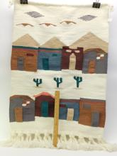 Lot 23: Vintage Wool Southwestern Cactus And Town Scene