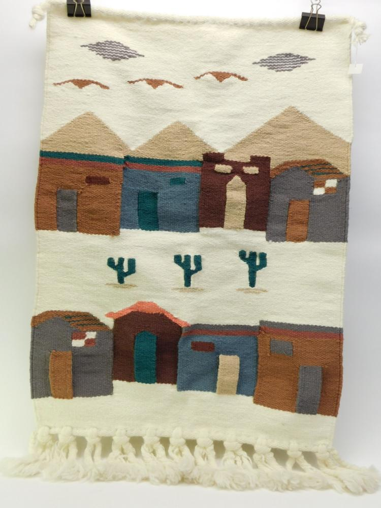 Vintage Wool Southwestern Cactus And Town Scene