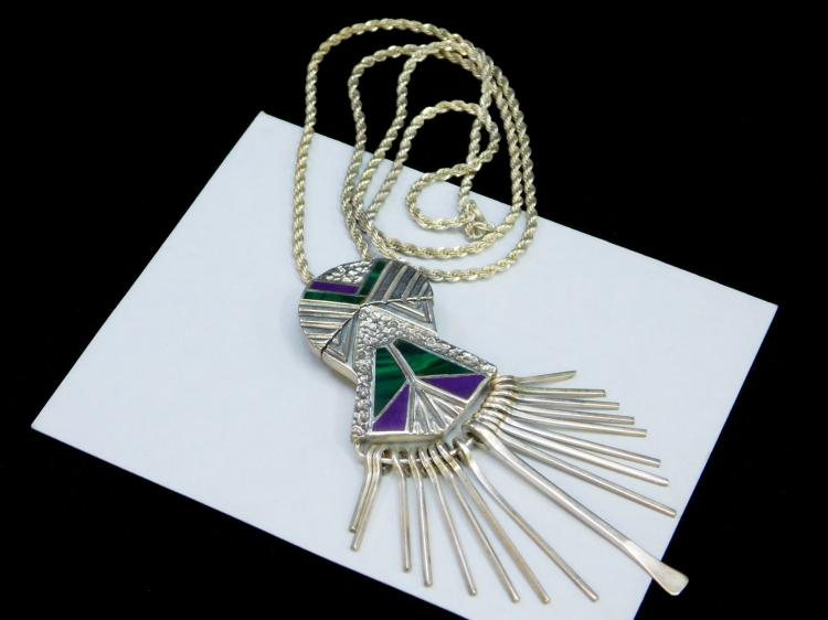 34 Gram Sterling Southwestern Inlaid Green And