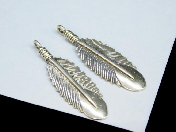 2 Vintage Sterling Large Feather Dangle Earrings
