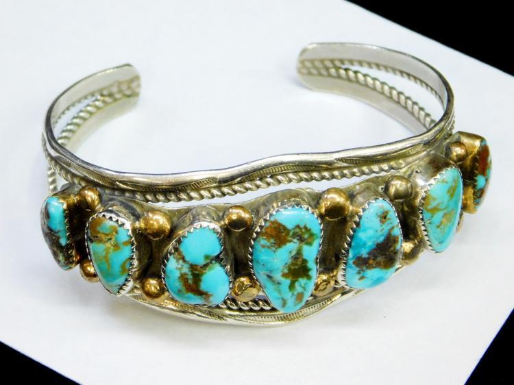 Lot 31: Vintage Navajo Bisbee Turquoise Sterling