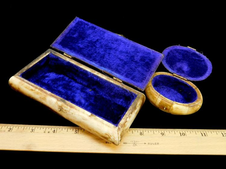 Lot 35: Lot Of To Vintage Bone Trinket Boxes One With