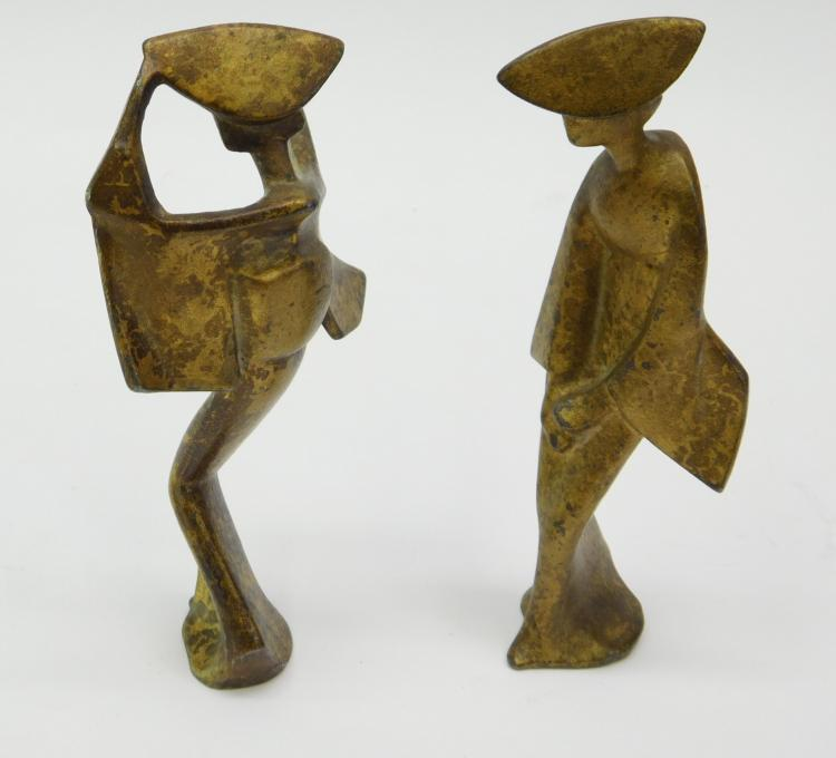 2 Vintage Mid-Century Cast Iron Oriental Figure