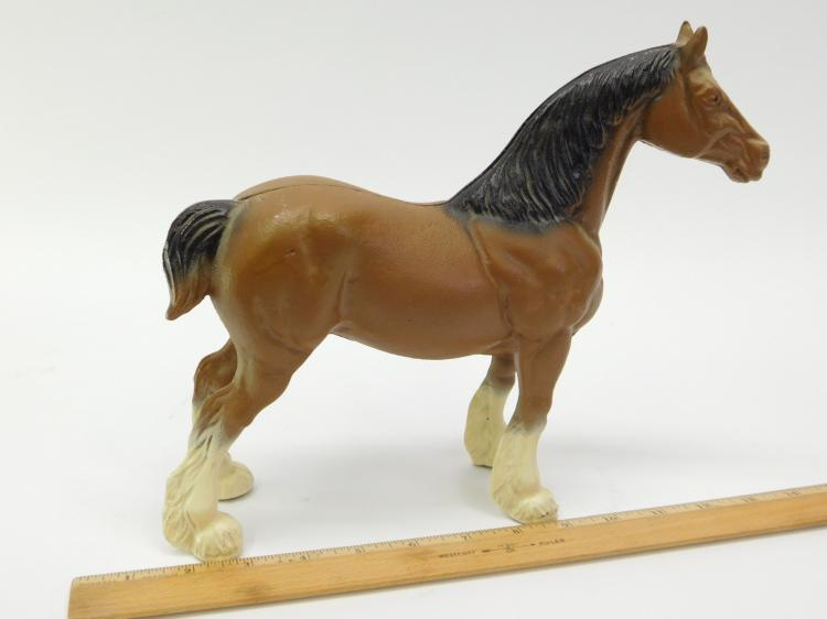Lot 44: Large Cast Iron Clydesdale Horse Figurine