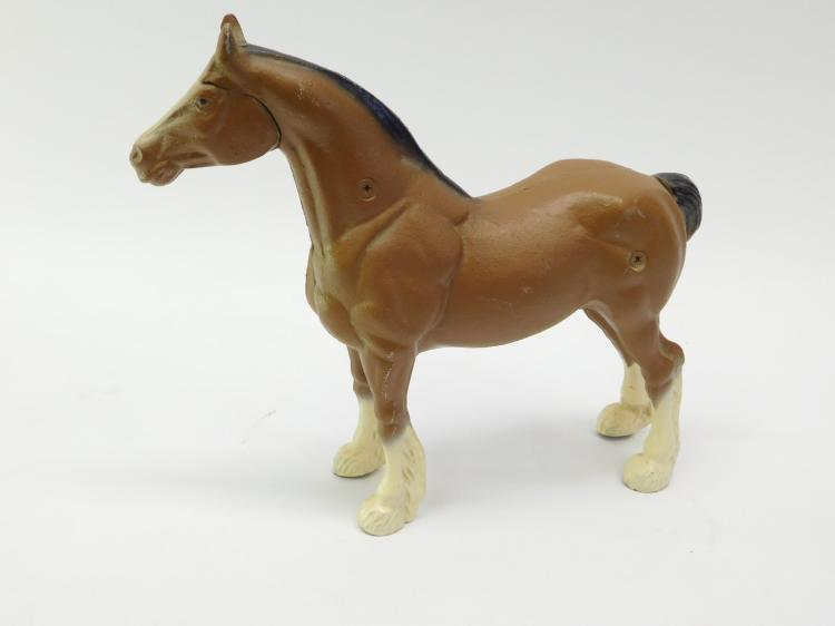 Large Cast Iron Clydesdale Horse Figurine