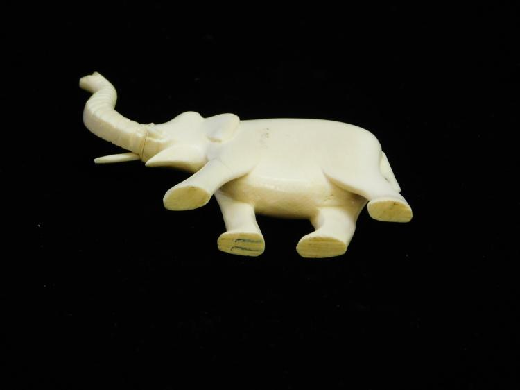 Lot 49: Antique Carved Ivory Elephant Figure Measures