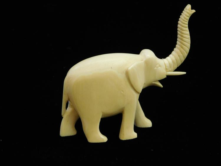 Antique Carved Ivory Elephant Figure Measures