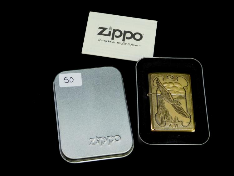 Lot 50: 1996 Zippo Wild West Series Eagle Over Mesa Brass