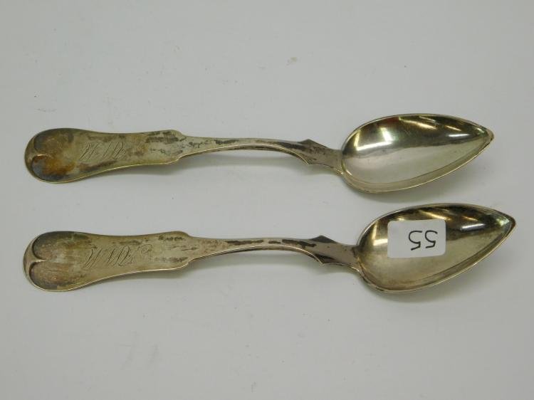 2 Antique Coin Silver Spoons By E&D Kinsey