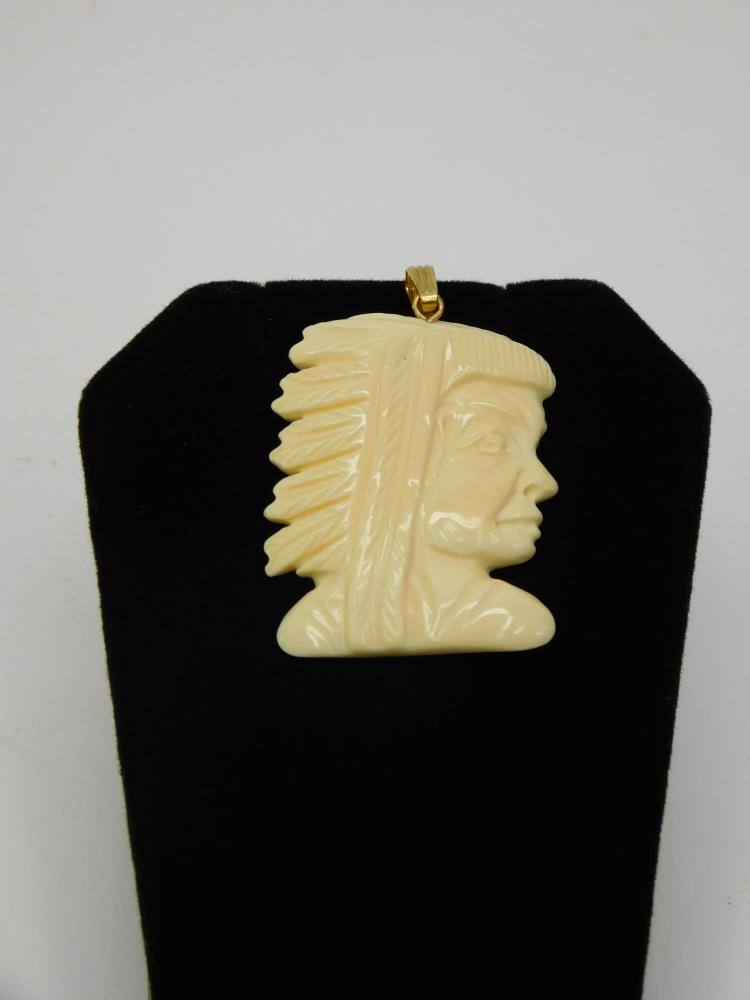 1970S Carved Walrus Ivory Indian Chief Head
