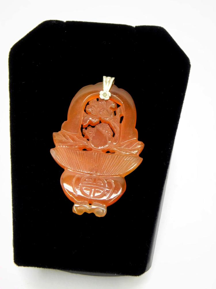 Very Nicely Carved Carnelian Oriental Flower