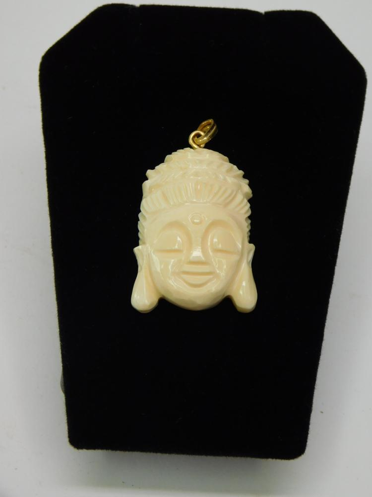 1970S Carved Walrus Ivory Buddha Head Pendant In