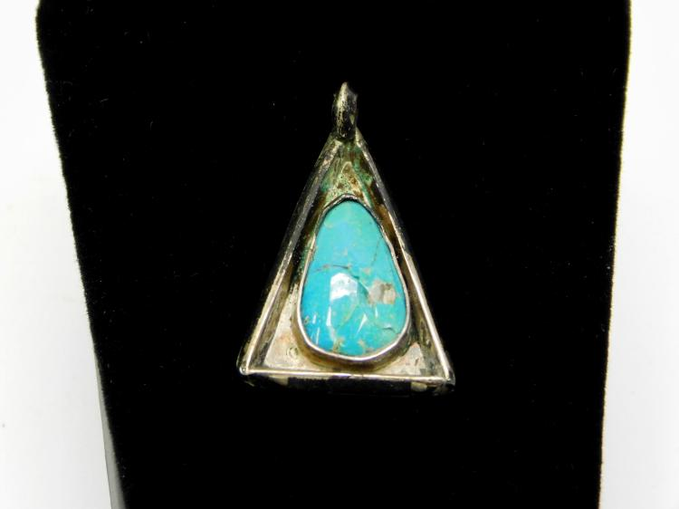 Vintage Navajo Sterling Turquoise Triangle