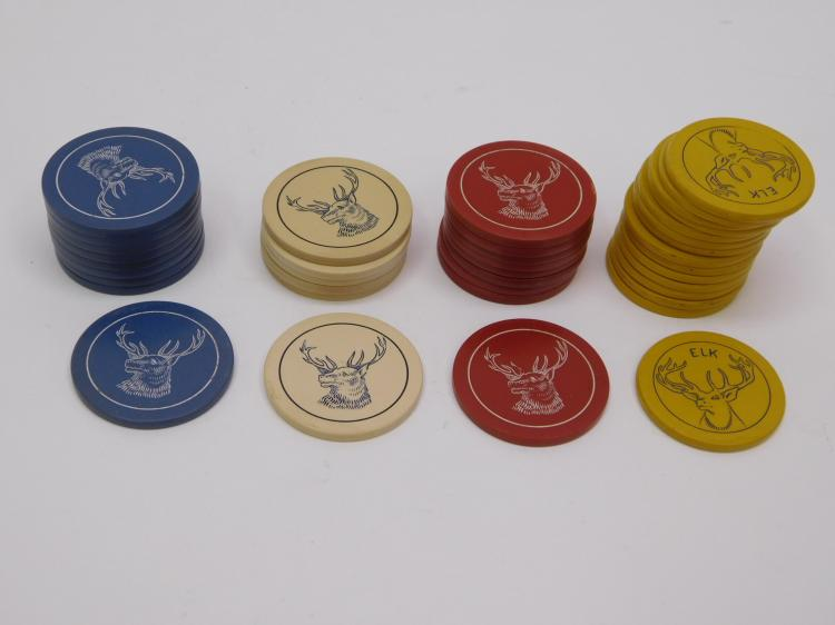 Lot Of 39 Antique Elk Composition Poker Chips