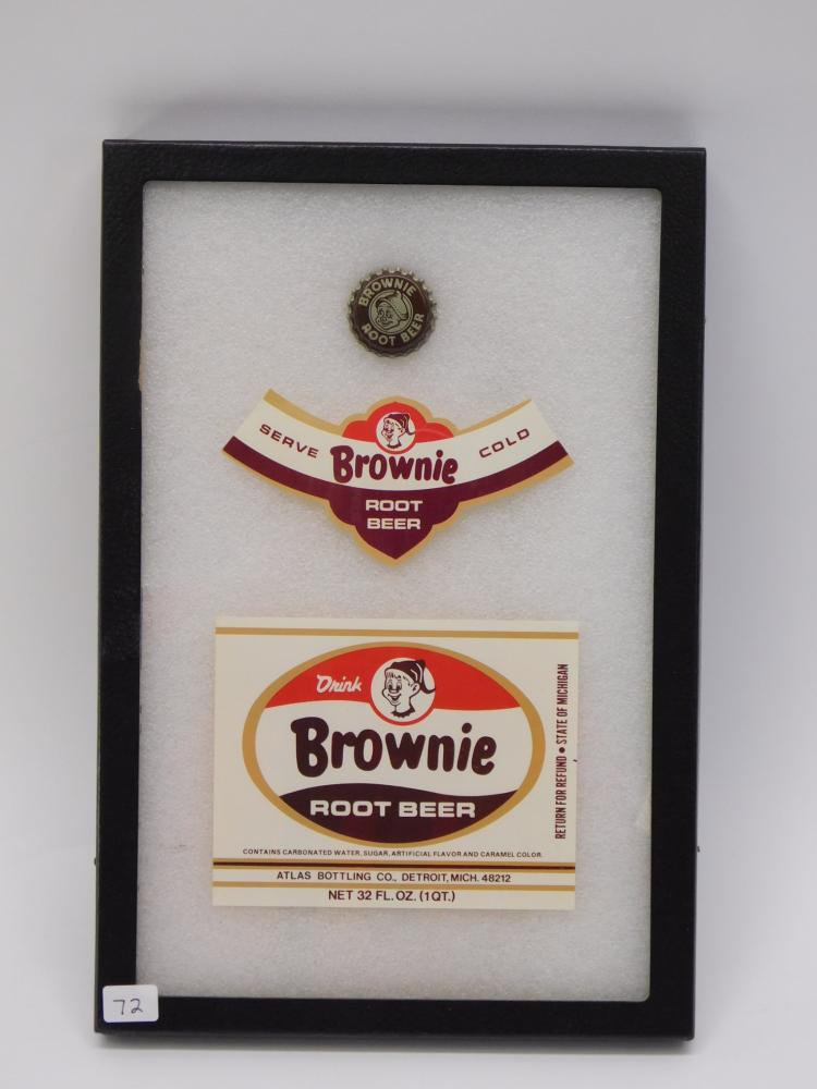 Vintage Brownie Root Beer Bottle Cap And Label