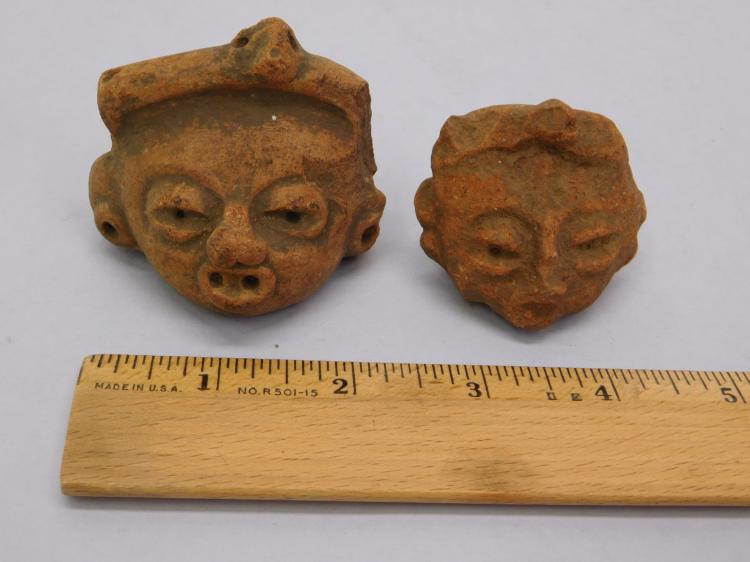 2 Genuine Pre-Columbian Pottery Heads In Good As