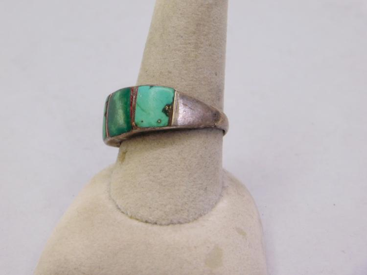 Lot 81: Navajo Old Pawn Sterling And Inlaid Turquoise