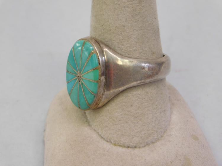 Lot 85: Vintage Zuni Sterling Inlaid Turquoise Old Pawn