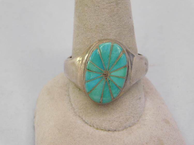 Vintage Zuni Sterling Inlaid Turquoise Old Pawn
