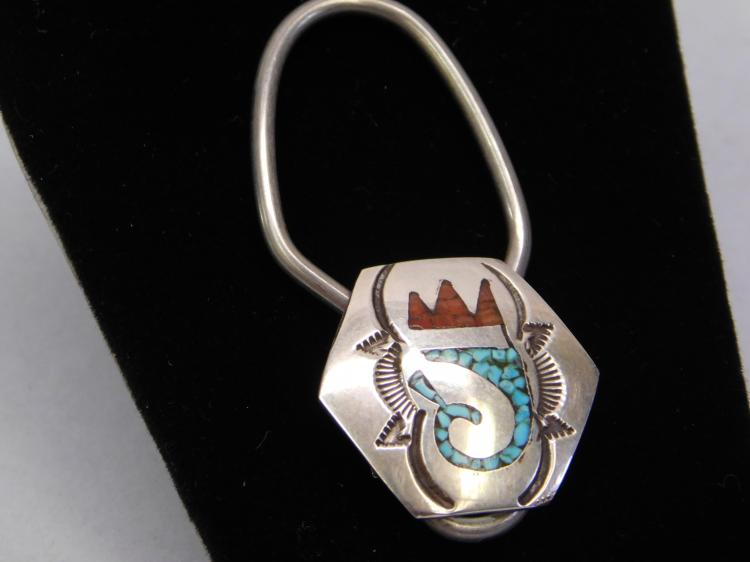 Vintage Zuni Sterling Chip Inlay Turquoise And