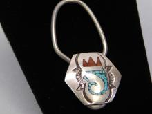 Lot 86: Vintage Zuni Sterling Chip Inlay Turquoise And