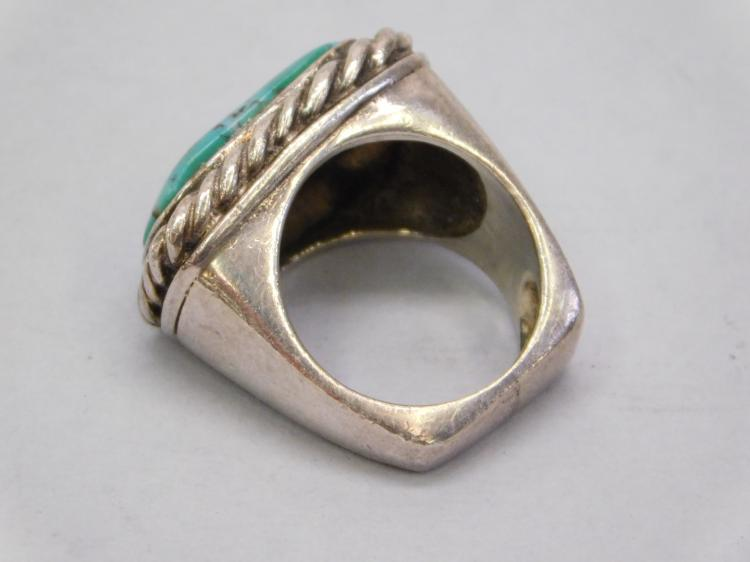 Lot 87: Vintage Navajo Sand Cast Sterling And Turquoise