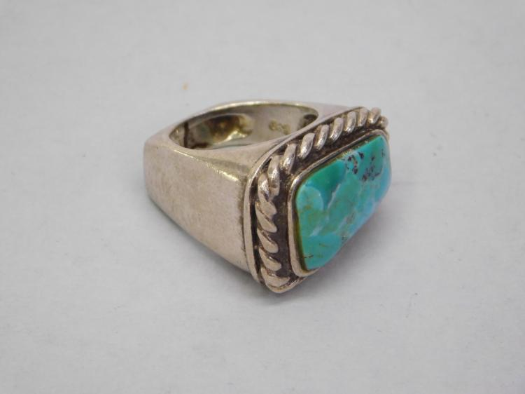 Vintage Navajo Sand Cast Sterling And Turquoise