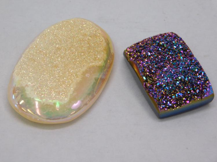 Lot Of 2 Drusy Agate Pendants 1 Purple 1 Yellow