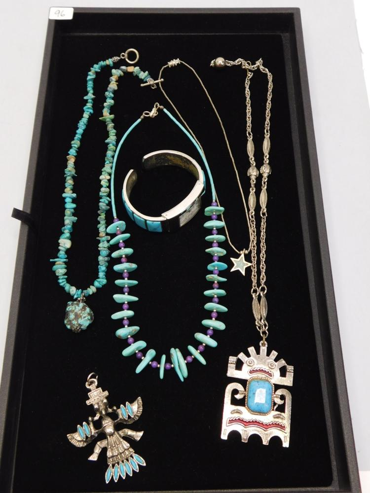Vintage Real Turquoise And Costume Jewelry Native