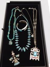 Lot 96: Vintage Real Turquoise And Costume Jewelry Native