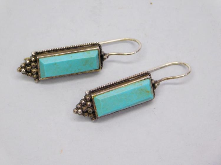 Modern Sterling And Square Turquoise Dangle