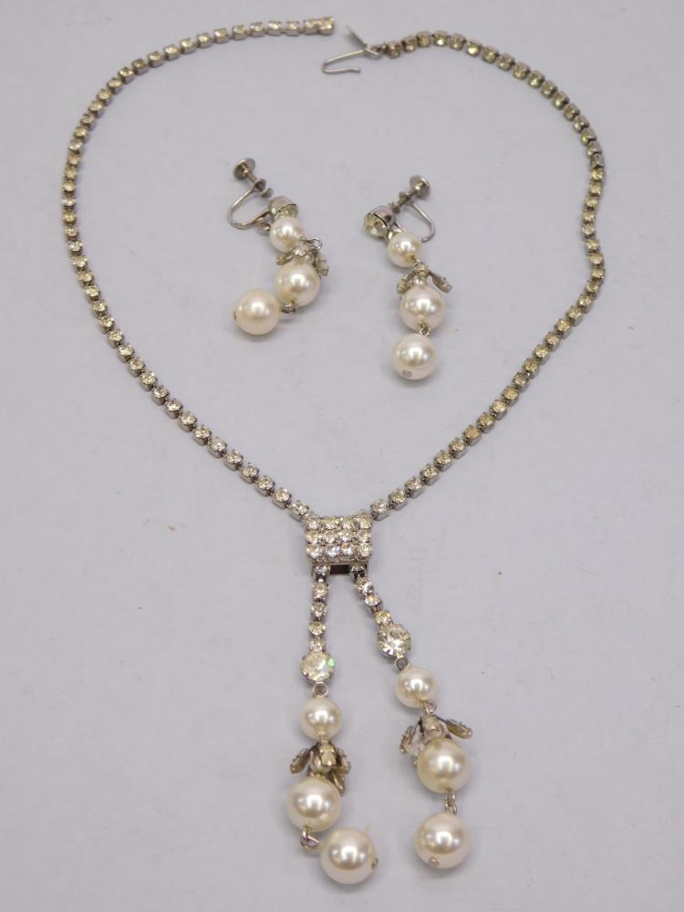 Vintage Costume Jewelry Rhinestone And Faux Pearl