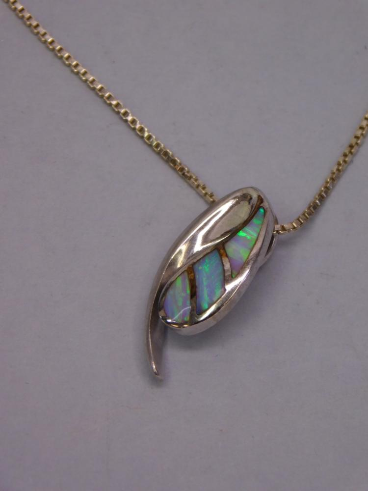Lot 113: Modern Sterling Silver And Opal Fashion Pendant