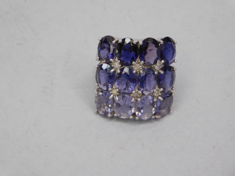 Lot 123: New Modern Sterling Silver Amethyst Cluster Ring