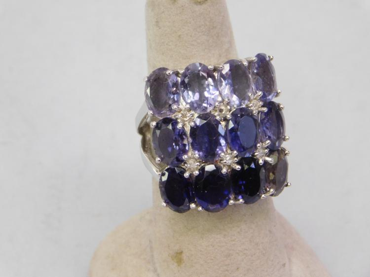 New Modern Sterling Silver Amethyst Cluster Ring