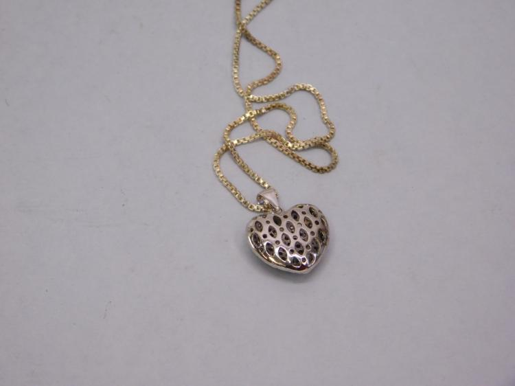 Lot 124: Modern Sterling Silver And Diamond Cluster Heart
